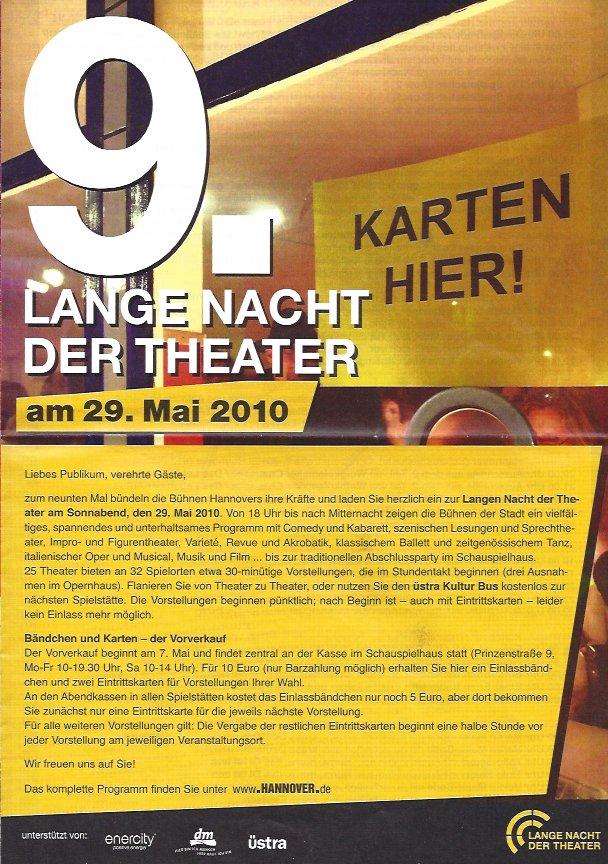 Plakat: 9. Lange Nacht der Theater