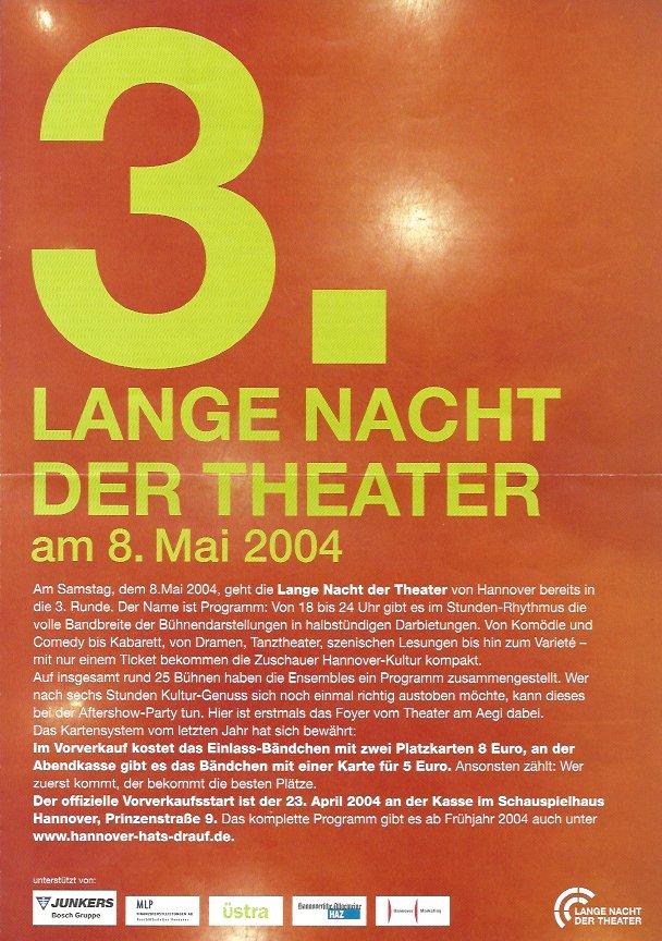 Plakat: 3. Lange Nacht der Theater