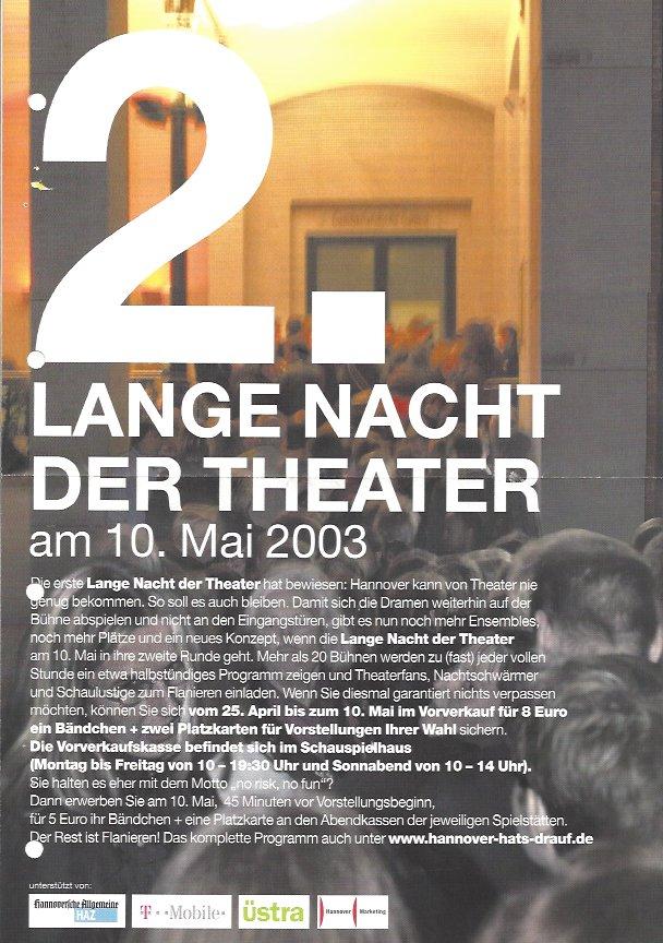 Plakat: 2. Lange Nacht der Theater