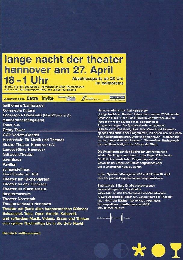 Plakat: 1. Lange Nacht der Theater